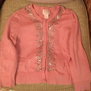 Central Park West pink cardigan with embellishment